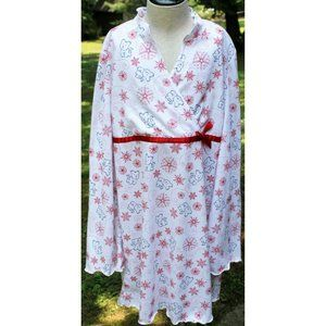 American Girl White Long Sleeve Nightgown Red Snow